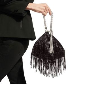 Brand New Jimmy Choo Fringe clutch 100% auth card